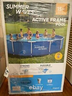 Summer Waves 15ft Active Metal Frame Above Ground Swimming Pool Filter & Pump