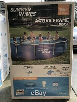 Summer Waves 15ft x 33in Active Frame Pool Above Ground Swimming Filter Pump