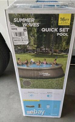 Summer Waves 16ft x 42in Above Ground Quick Set Pool with Filter Pump and Ladder