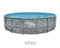 Summer Waves 18' X 48 Stone Print Above Ground Pool with Ladder, Filter, Pump
