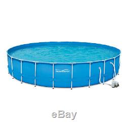 Summer Waves 24' x 52 Metal Frame Above Ground Swimming Pool with Filter Pump W