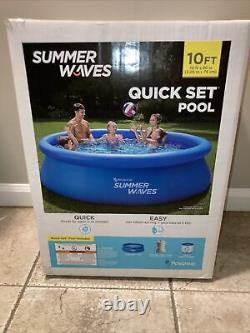 Summer Waves Pool, Above Ground Quick Set Inflatable, Filter Pump (10ft x 3in)