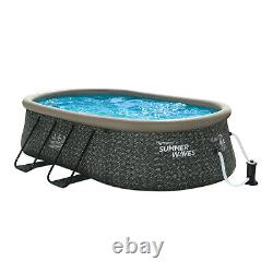 Summer Waves Quick Set 15 Ft Oval Above Ground Pool with Filter Pump, Dark Gray