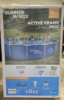 Summer Waves Swimming Pool Above Ground 15' x 33 Active Metal Frame with Filter