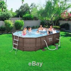 Swimming Pool Kit Oval Above Ground Backyard Large Wicker Family Filter Ladder